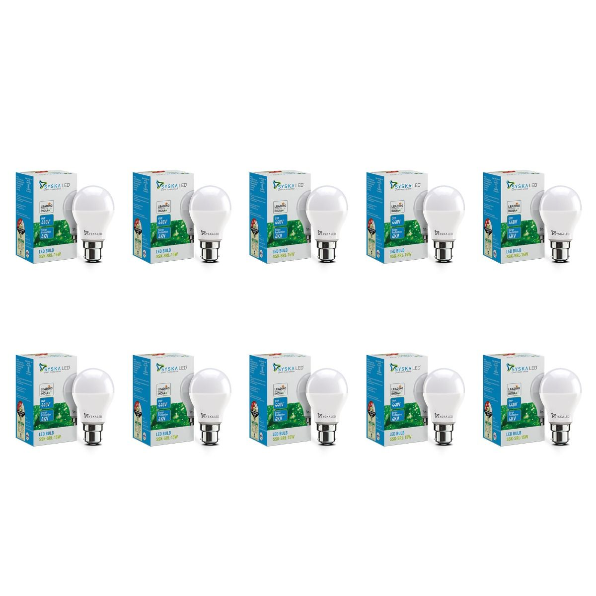 SYSKA 15W LED Bulbs with Life Span Up To 50000 Hours- (White)- Pack of 10