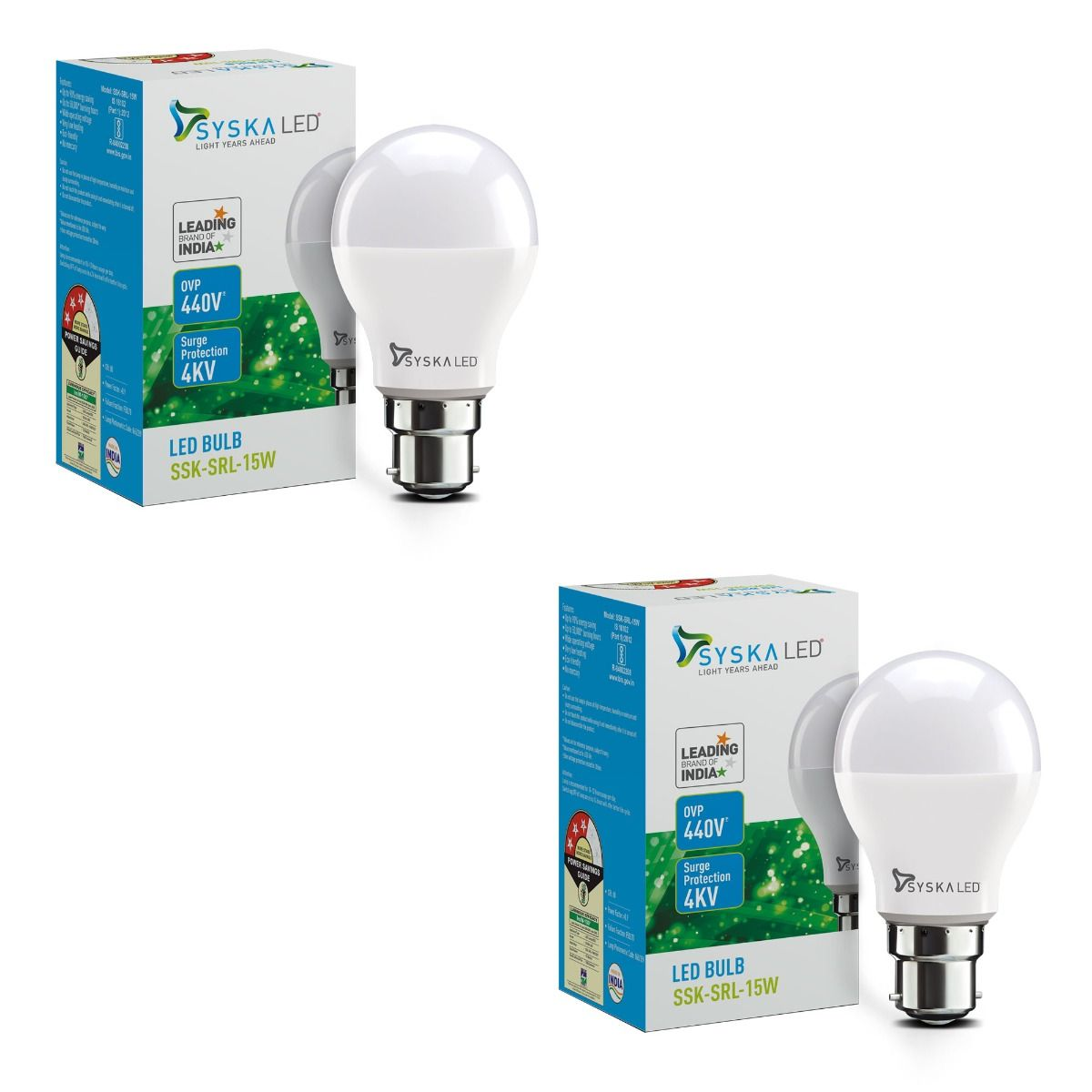 SYSKA 15W LED Bulbs with Life Span Up To 50000 Hours- (White)- Pack of 2