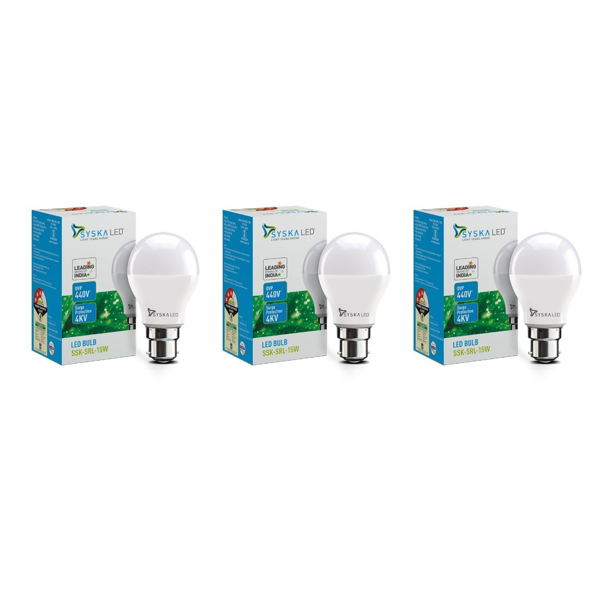 SYSKA 15W LED Bulbs with Life Span Up To 50000 Hours- (White)- Pack of 3