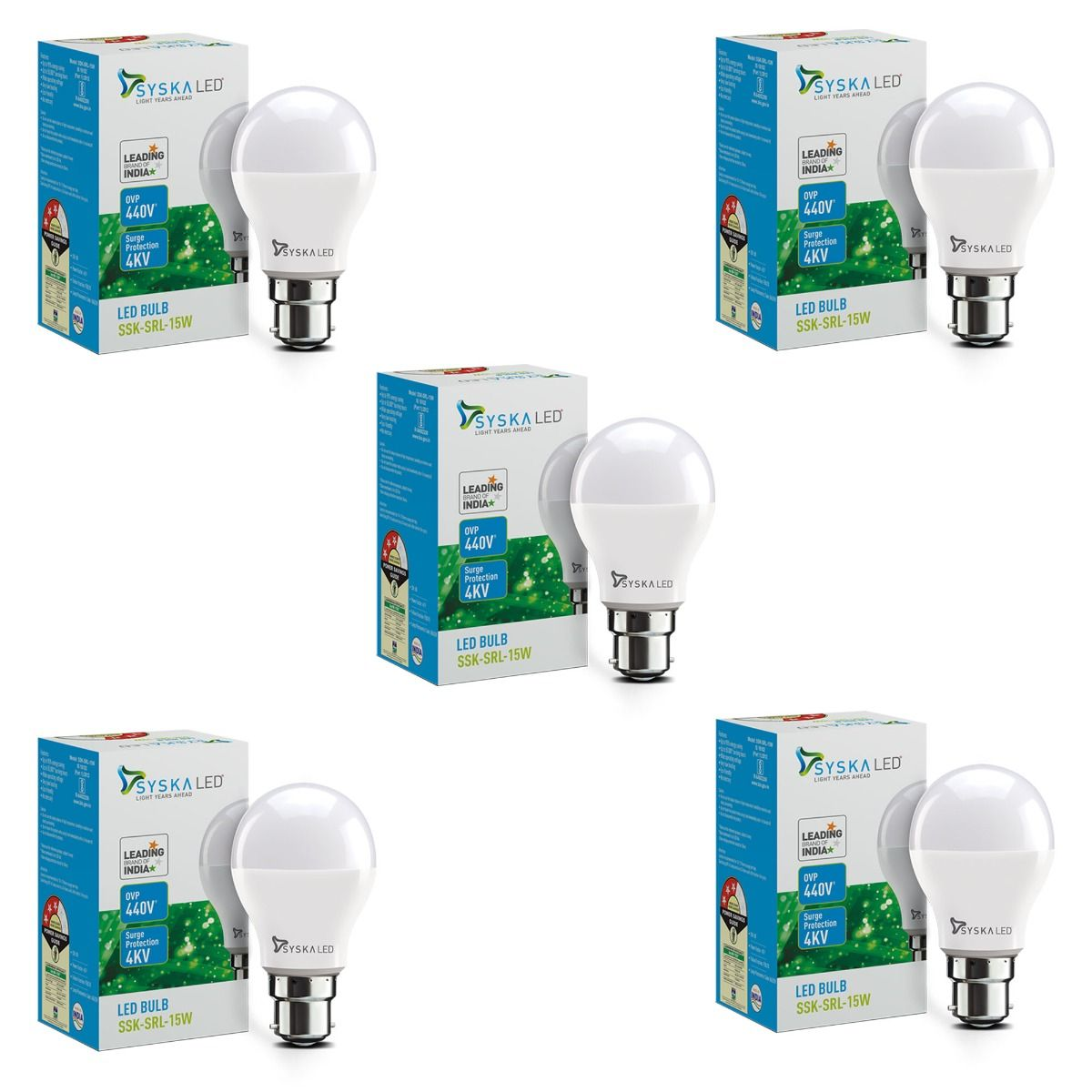 SYSKA 15W LED Bulbs with Life Span Up To 50000 Hours- (White)- Pack of 5