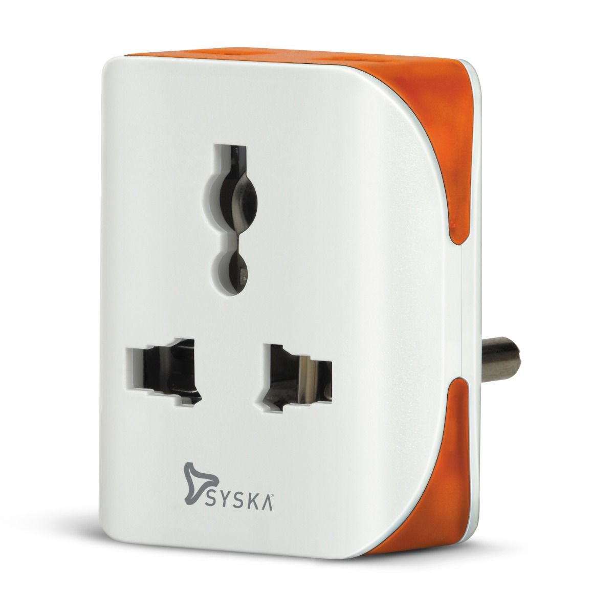 SYSKA Connec Trio 3 Way 10 A  Power Plug (White-Orange)