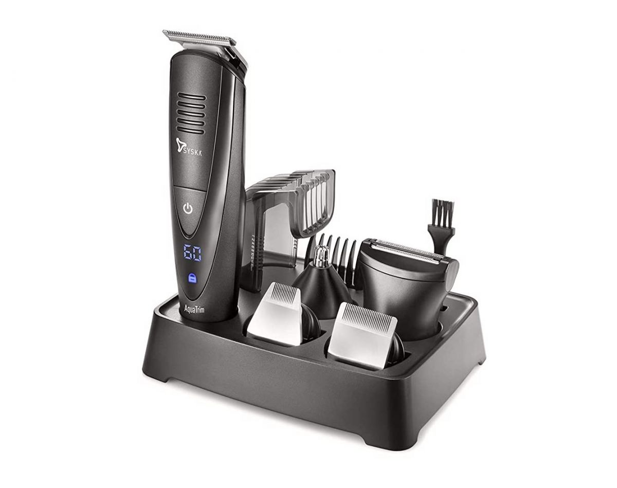 Syska Aqua Trim Pro Styling Kit HT4000K Runtime: 60 min Grooming Kit for Men (Black)
