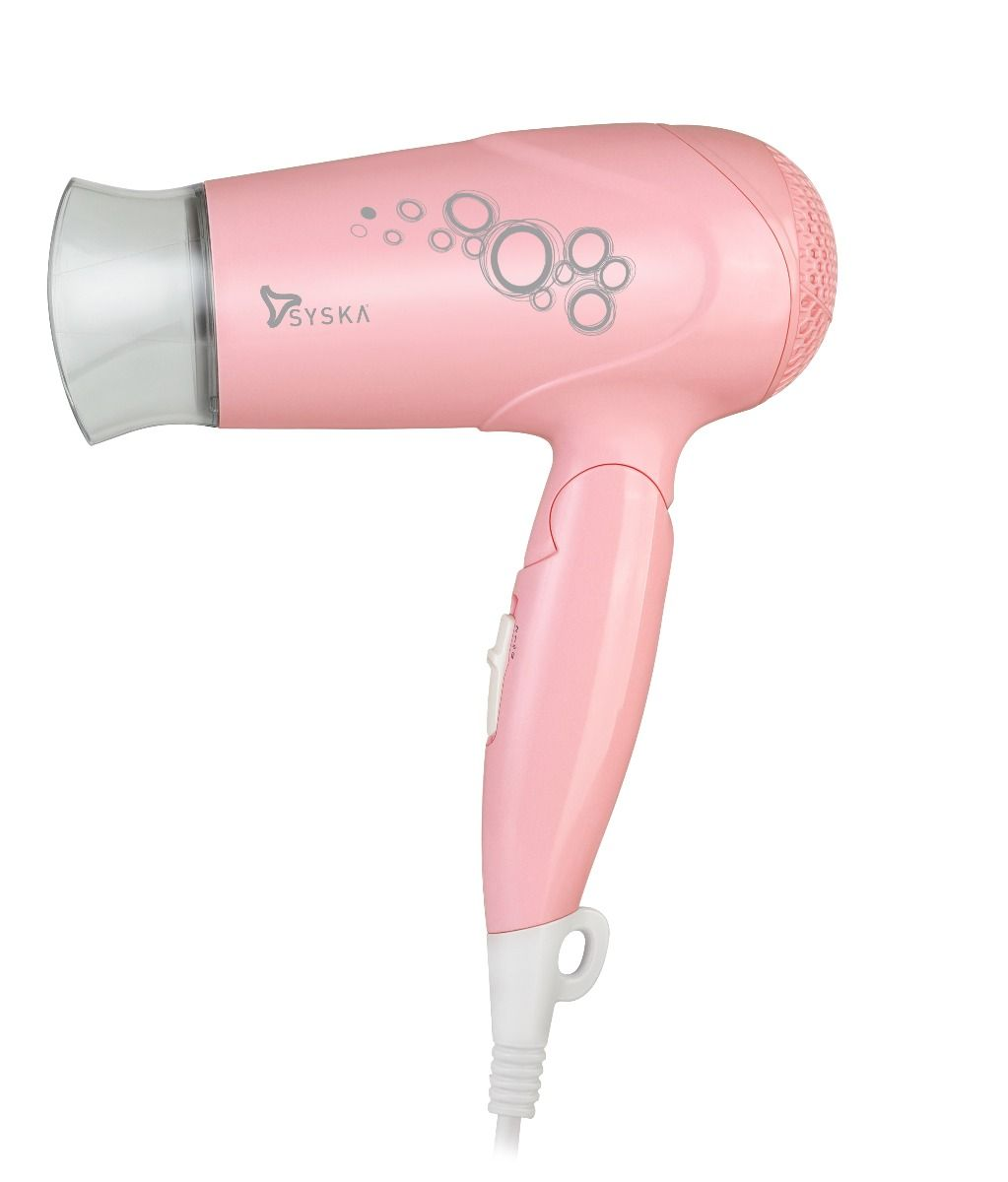 SYSKA HD1620 Hair Dyer with Foldable handle, Detachable Concentrator-(Power 1200 W)-Pink