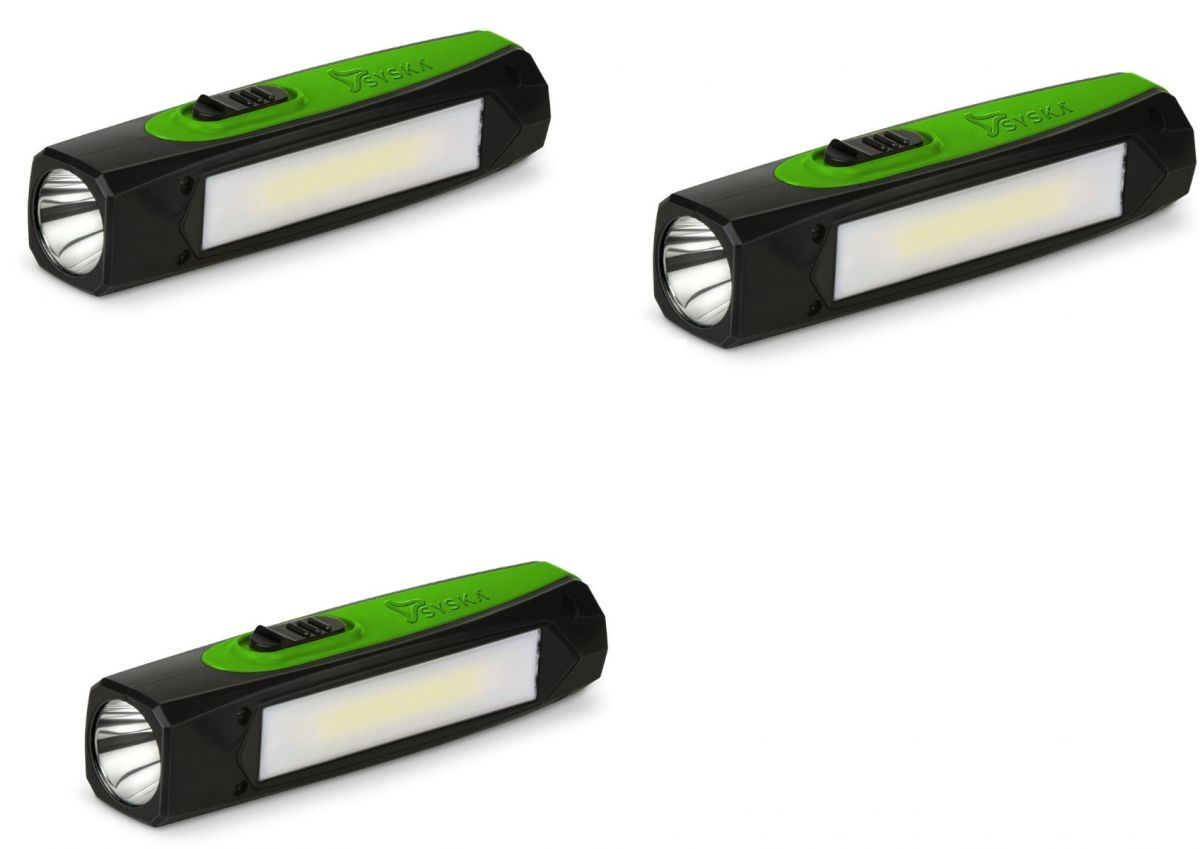 SYSKA T112ML DUOTRON 1W Bright Led Rechargeable Torch-Pack of 3- GREEN