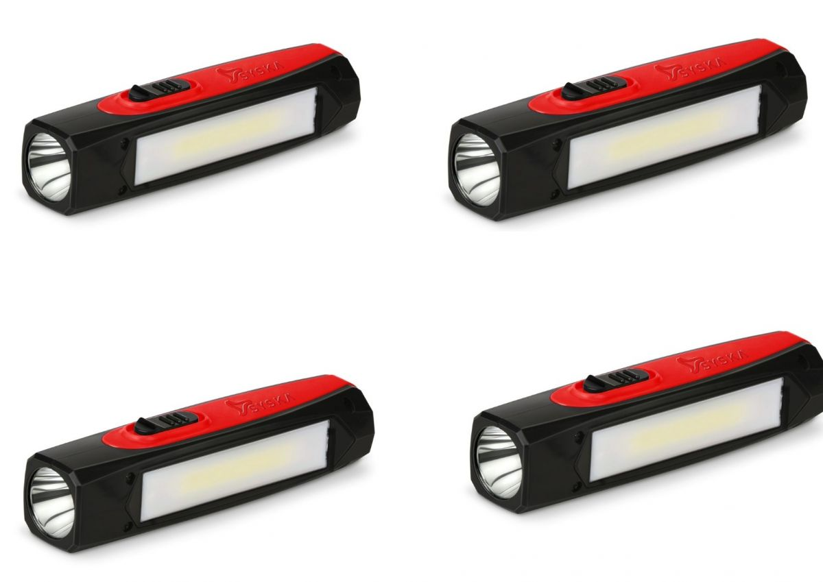 SYSKA T112ML DUOTRON 1W Bright Led Rechargeable Torch-Pack Of 4- RED