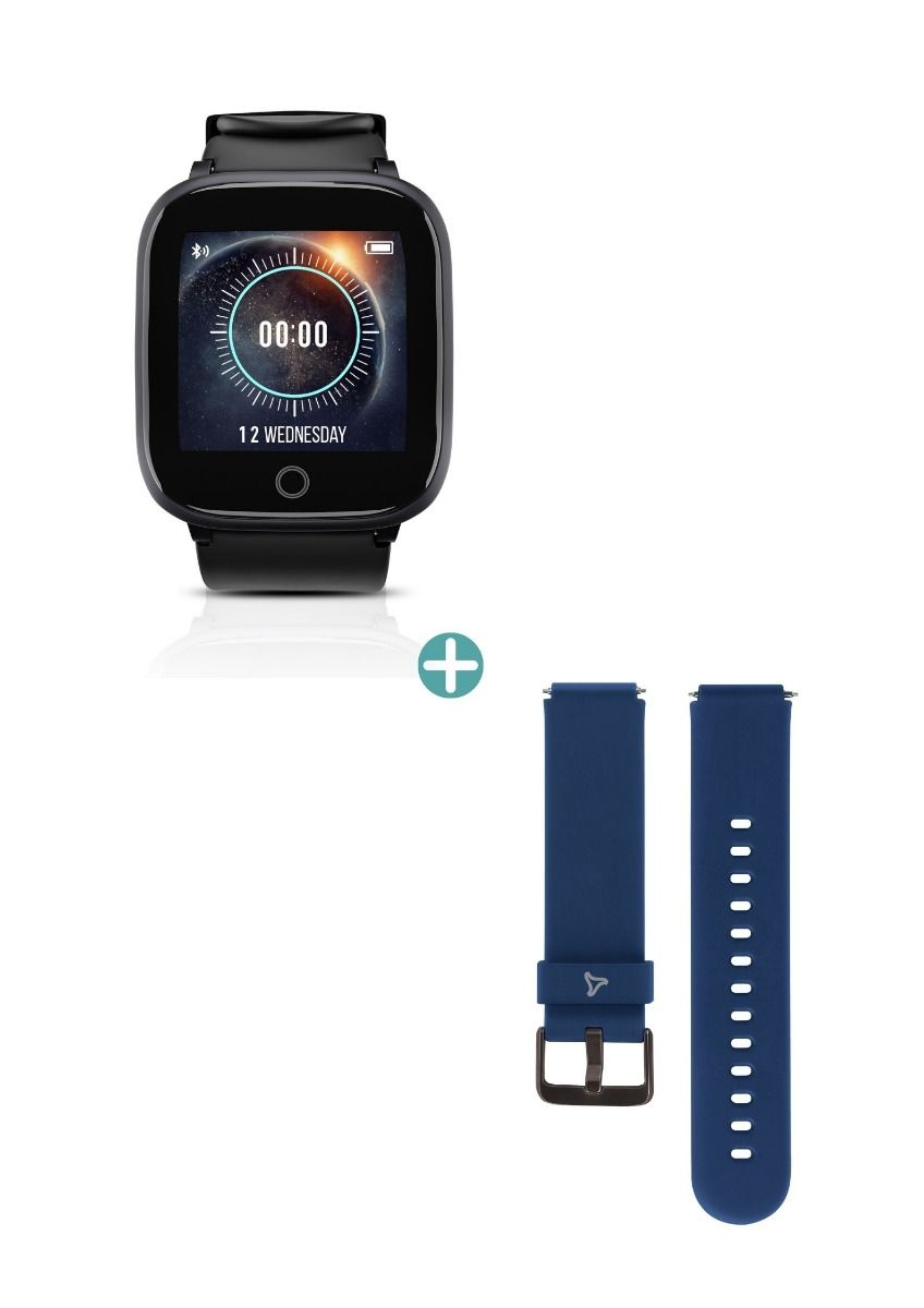 Syska SW100 IP68 Water Resistant Smartwatch (Black) with  Smart Watch Strap (Blue)- Combo