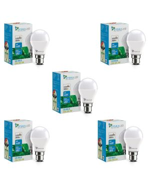 SYSKA 9W LED Bulb with Energy Saving, No-Mercury, Up to 50000 Hours Life Spans- White (Pack of 5)